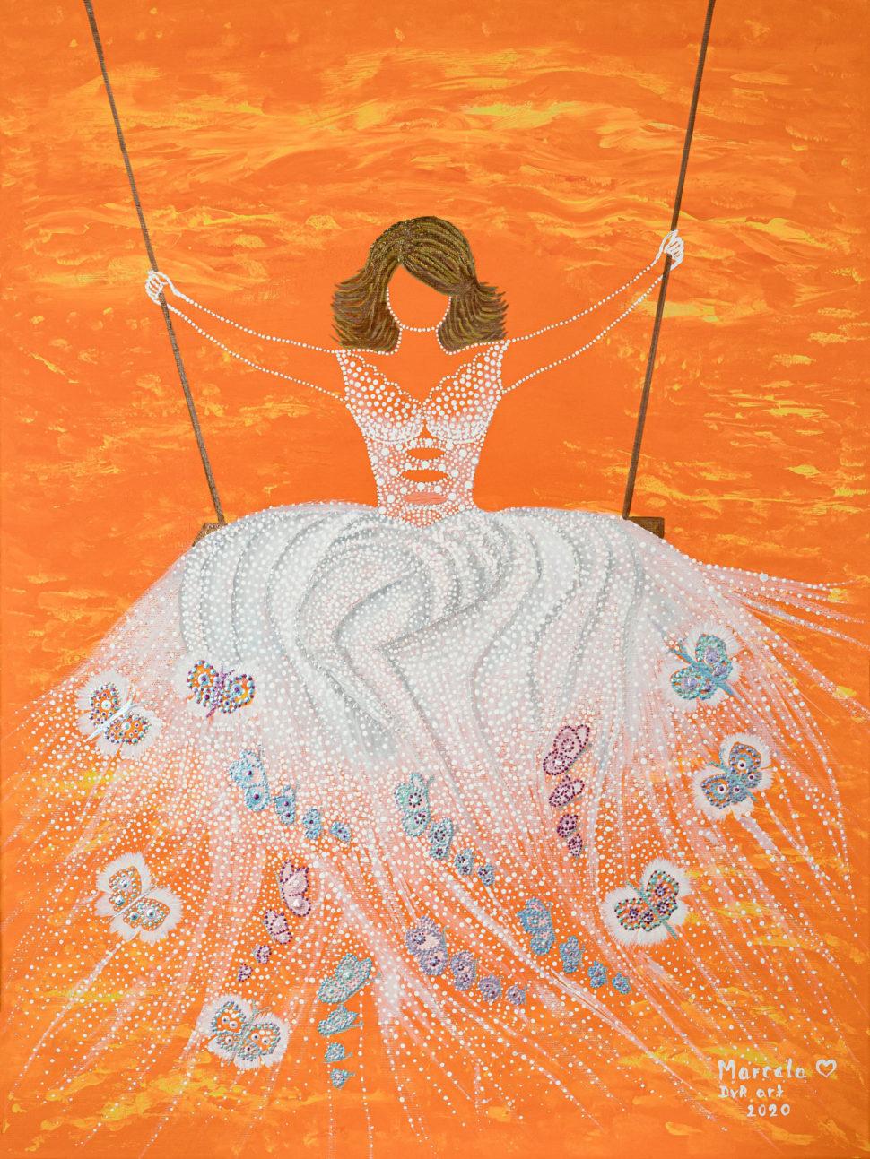 VIII. Bohyně radosti plátno 60x80 akryl, hodnota originálu 20 000,-Kč